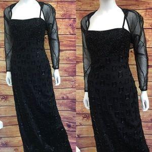 Vintage Helen Morley Black Beaded 1990's Gown